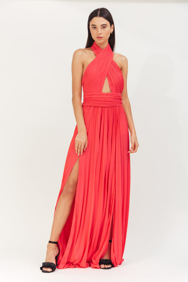 HOTPINK LONG CREPE PLISSE DRESS WITH X IN FRONT AND OPEN BACK
