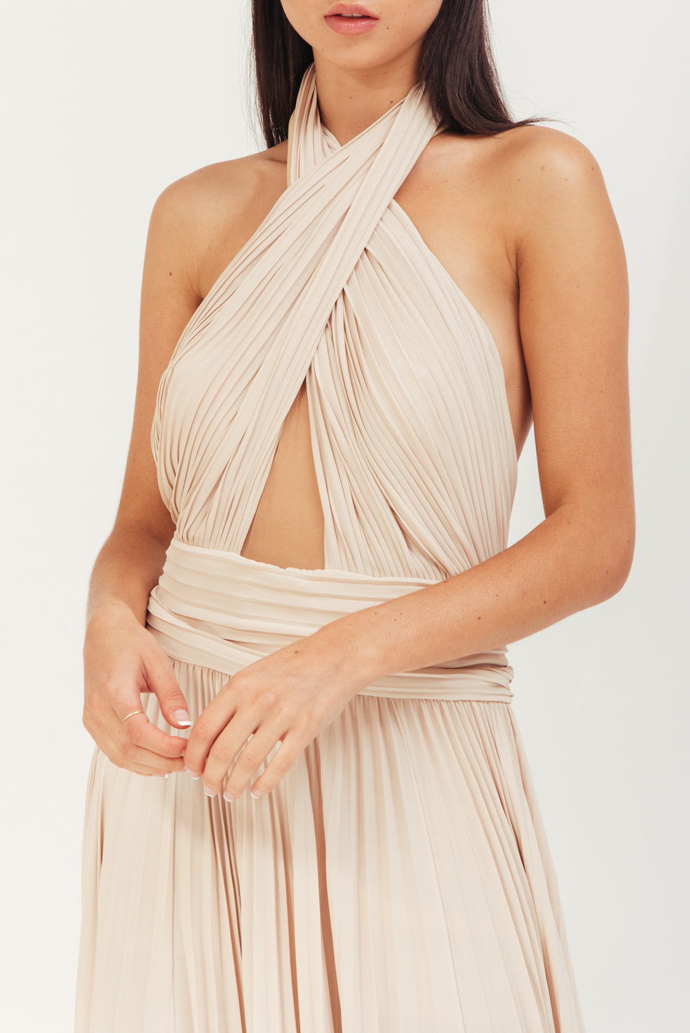 BEIGE LONG CREPE PLISSE DRESS WITH X IN FRONT AND OPEN BACK