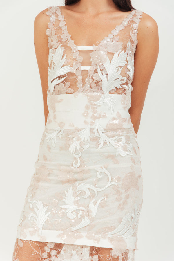 LONG SHEER PINK SEQUIN EMBROIDERED DRESS