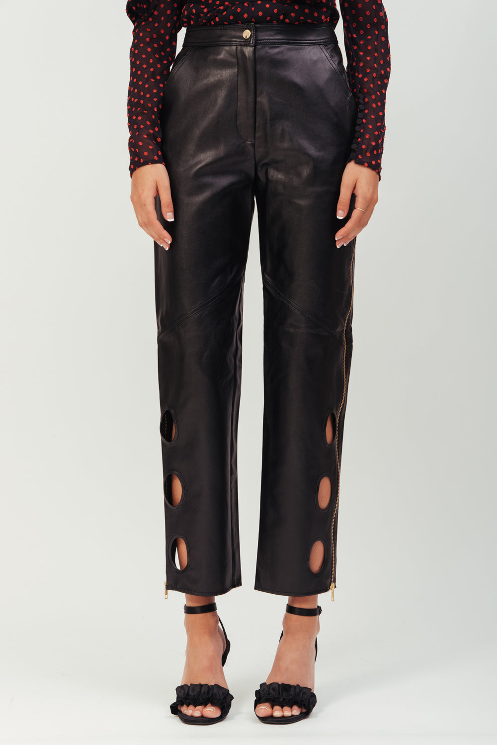 BLACK EYELET TROUSER FAUX LEATHER SP19-005F