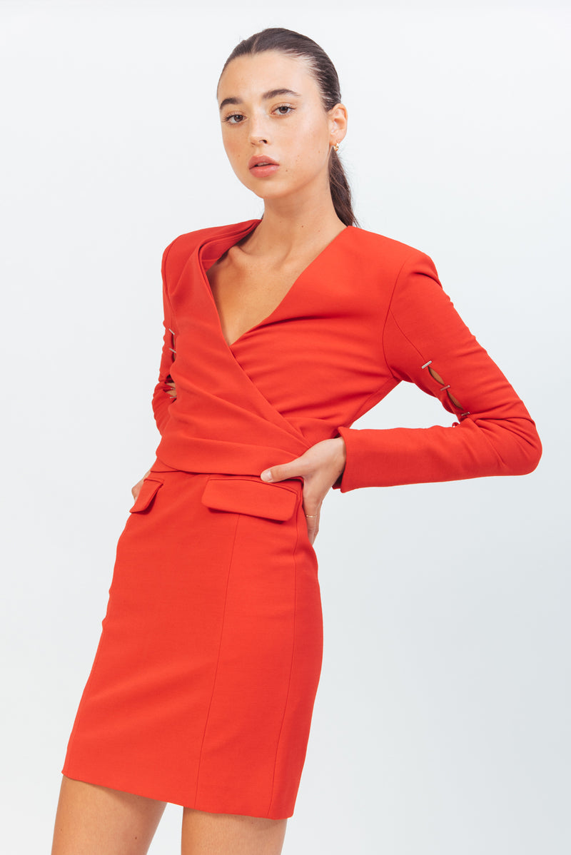 COMPACT STRETCH WOOL WRAP DRESS