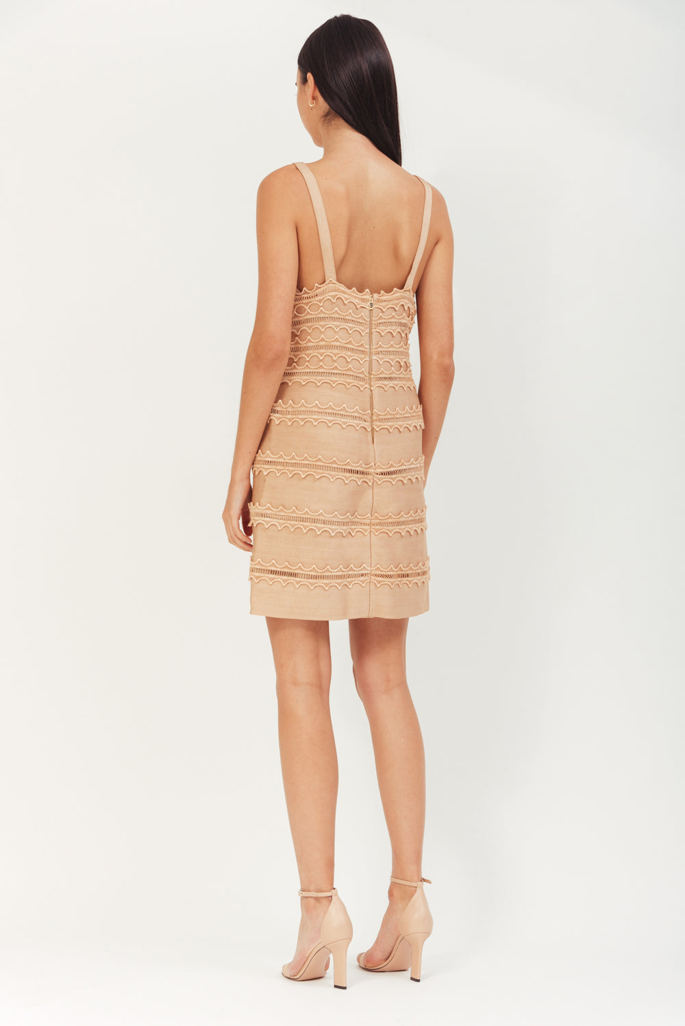BEIGE MINI ELASTIC BANDED DRESS WITH LACE TRIMMING
