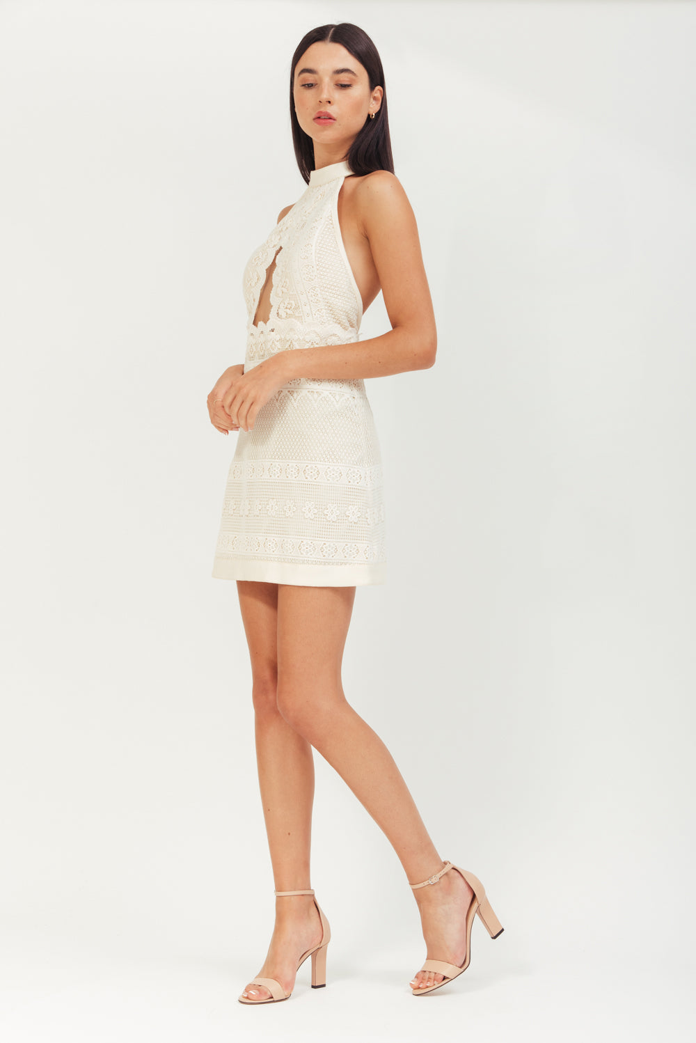 MINI ELASTIC BANDED DRESS WITH GOLD HOOPS