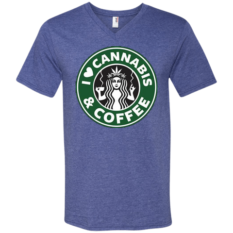 Cannabis & Coffee V-Neck T-Shirt