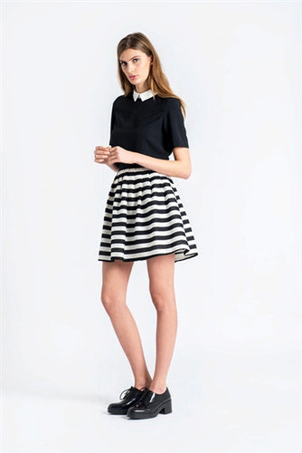 Woven Striped A-Line Mini Skirt