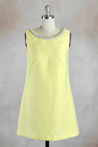 Embellished Woven Shift Dress in Yellow