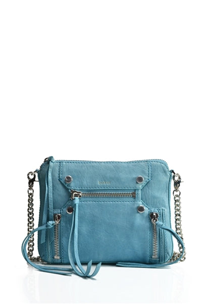 Logan Leather Cross Body Bag in Blue