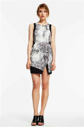 Player Sleeveless Geometric Sheath Dress
