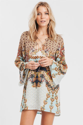 Giselle Bohemian Lace-Up Tunic Dress