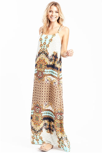 Jocelyn Double Spaghetti Straps Bohemian Maxi Dress