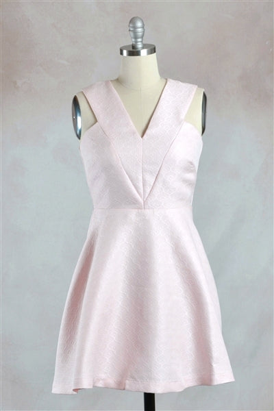 Sleeveless Jacquard Fit and Flare Mini Dress in Baby Pink