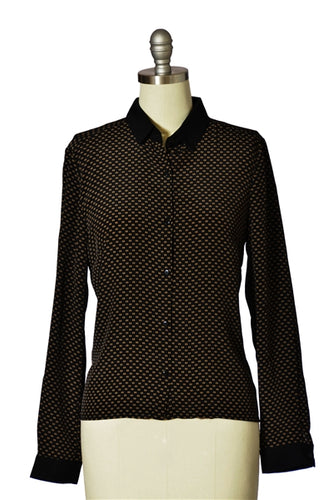 Split Dot Foulard Print Button-down Shirt