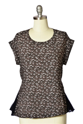 Abstract Print Pleat Inset Top in Brown
