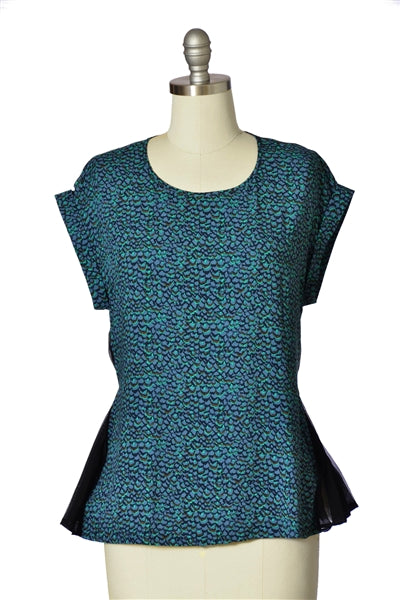 Abstract Print Pleat Inset Top in Green