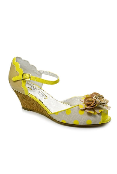 Crazy Daisy Wedge Sandals in Yellow