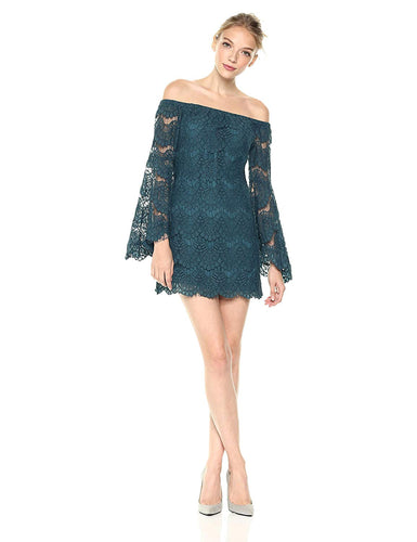 Tainted Love Off Shoulder Lace Dress in Teal