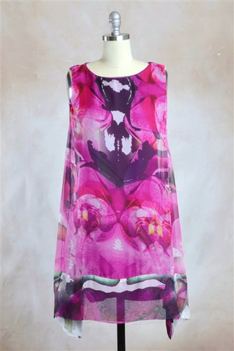 Isa Abstract Kaleidoscope Print Chiffon Flare Dress