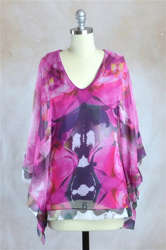 Abstract Floral Print Kimono Sleeves Chiffon Blouse