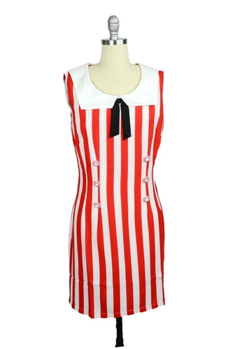Sally's Sailor Nautical Shift Dress in Red