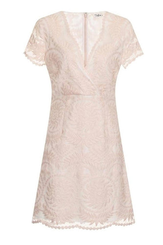 Marielle Lace Short Sleeve Dress in Nude