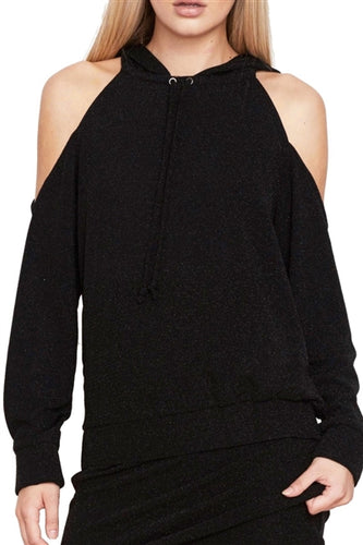 Cold Shoulder Metallic Pullover Hoodie in Black