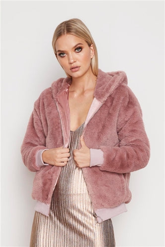 Furry Hooded Zip Jacket in Mauve