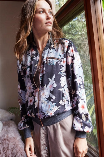 Mystic Nights Floral Bomber Jacket