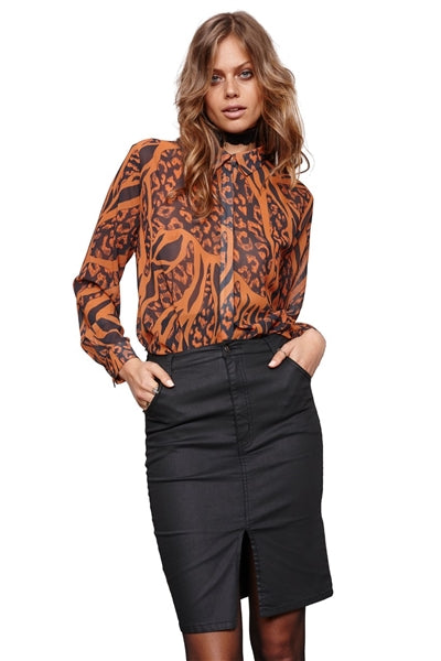 Excessive Chiffon Animal Print Long Sleeve Blouse