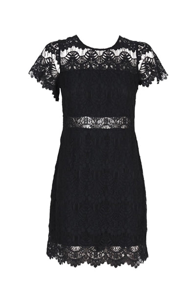Tainted Love Lace T-Shirt Dress in Black