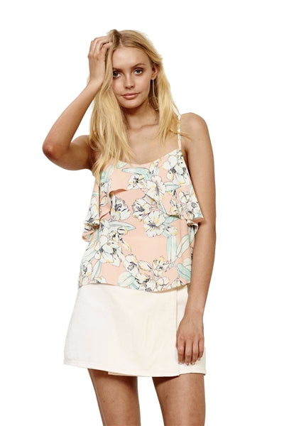 Palm Springs Floral Frill Cami Top