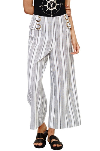 Deckside Striped Linen Cropped Pants
