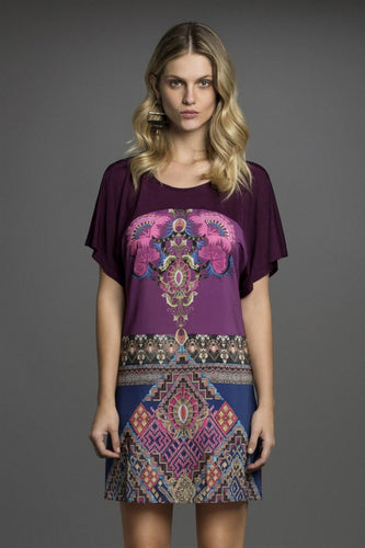 Bohemian Print Short Sleeve Tunic Dress