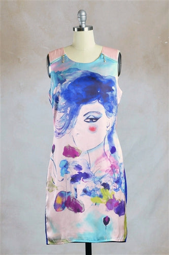 Indigo Lady Watercolor Art Zip Detail Shift Dress