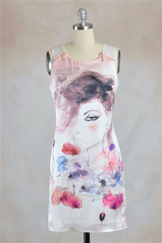 Pink Lady Watercolor Art Zip Detail Shift Dress