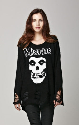 Misfits Distressed Crew Neck Sweater