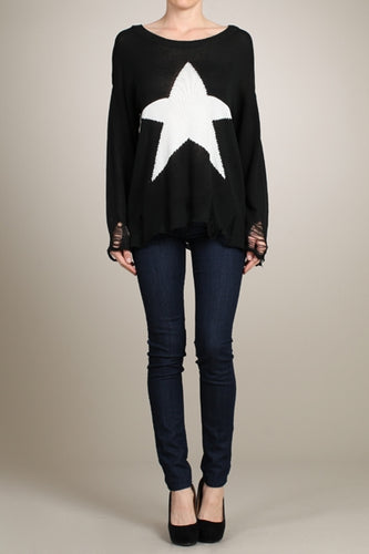 Star Distressed Knit Sweater in Black