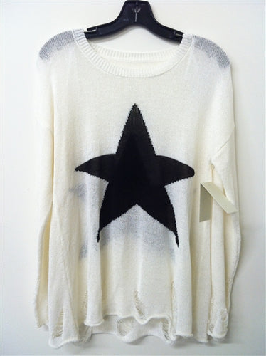 Star Distressed Knit Sweater in Ivory