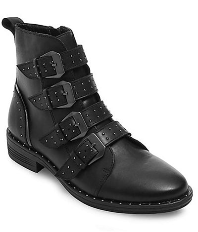 Pursue Studded Leather Biker Boots