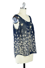 Flock of Swallows Chiffon Sleeveless Top in Navy