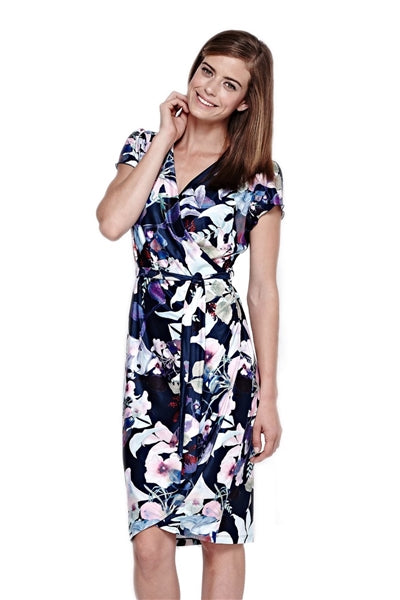 Floral Faux Wrap Jersey Dress