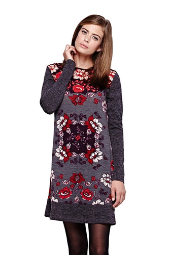 Rose Print Knit Sweater Dress