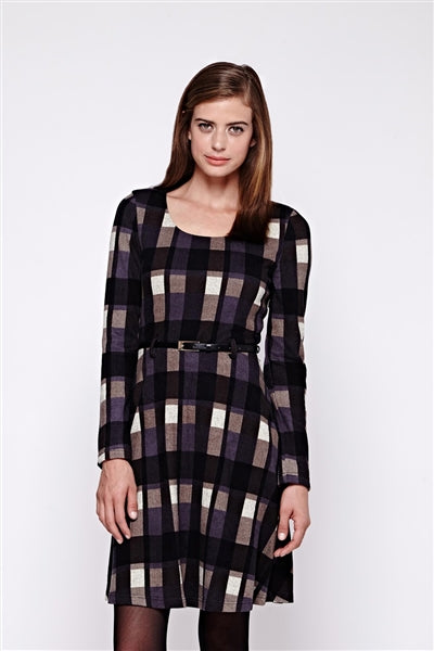Long Sleeves Check Print Skater Dress