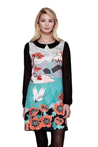 Japanese-Inspired Print Long Sleeve Shift Dress