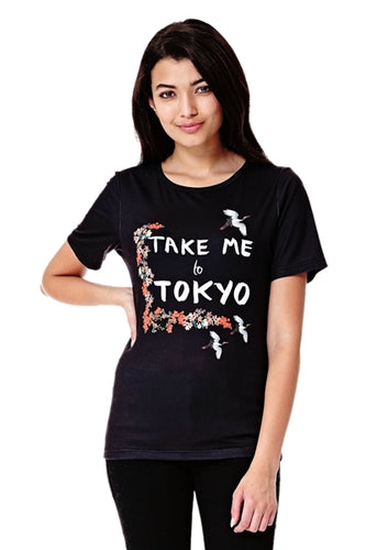 Take Me To Tokyo Printed T-Shirt in Black