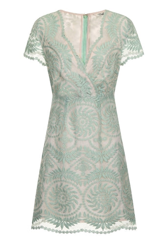 Marielle Lace Short Sleeve Dress in Mint