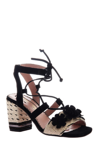 Entwined Ghillie Lace Sandals in Black