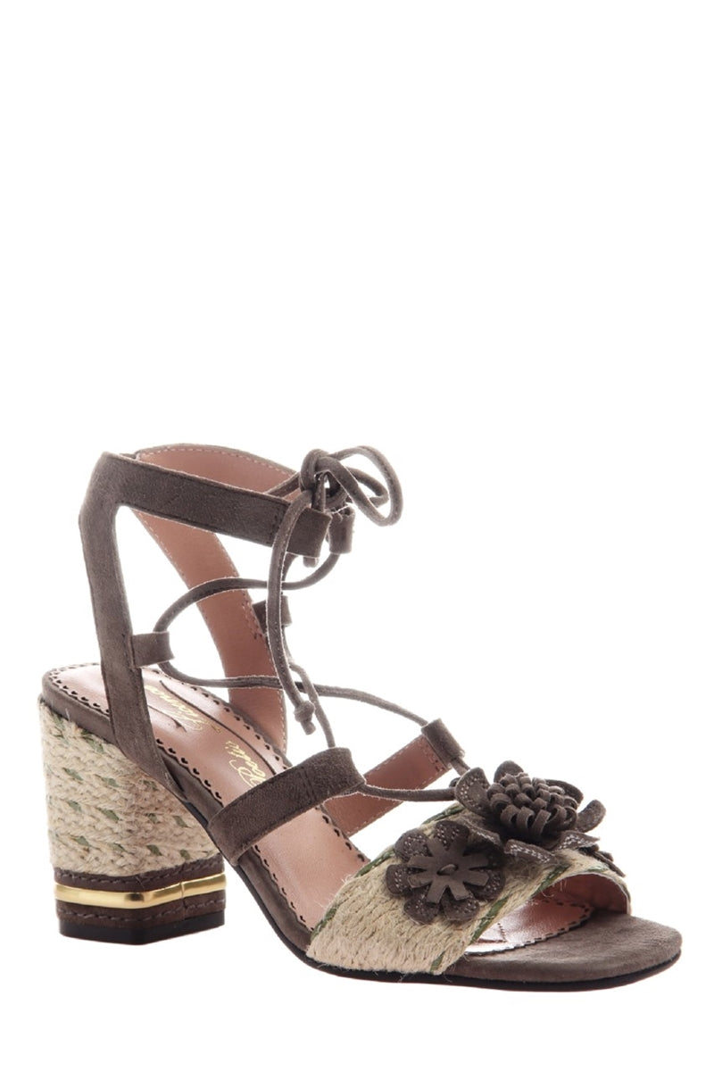 Entwined Ghillie Lace Sandals in Grey
