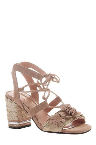 Entwined Ghillie Lace Sandals in Pale Rose