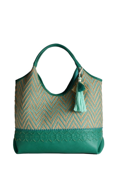 Jandreas Tassel Chevron Hobo in Aqua