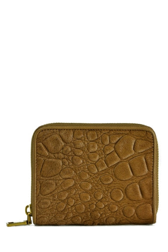 Reptil Donate Calf Hair Leather Mini Zip Wallet in Brown